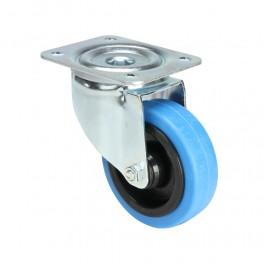 Roulette pivotante bleue pour flight case, sans frein