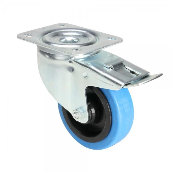 roulette pivotante bleue pour flight case avec frein. Black Bedroom Furniture Sets. Home Design Ideas