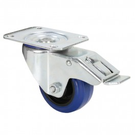 SMALL blue flight case swivel castor, braked