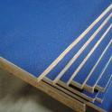Flightcase hout (10 mm) BLAUW 125 cm x 250 cm, met zwarte achterzijde